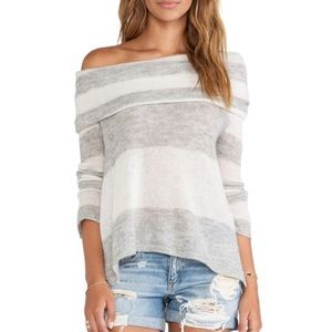 Free People Lulu Rugby Stripe Sweater Ivory-Grey